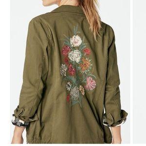 JustFab Embroidered Jacket Dark Olive